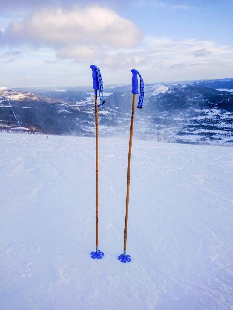 Rimfors bamboo ski poles, prototype tested in Kittelfjäll February 2020.