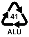 Recycling symbol for aluminum which means that the material is recyclable.