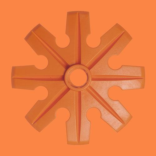 Orange pudertruga, Ø100 mm, från Tehnomat.
