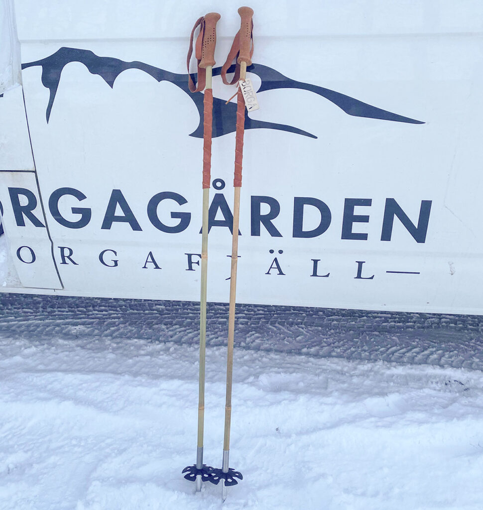 The very first Borga bamboo ski poles! Handcrafted by Joakim Engwall and Pancho Snöfall at Borgagården.
