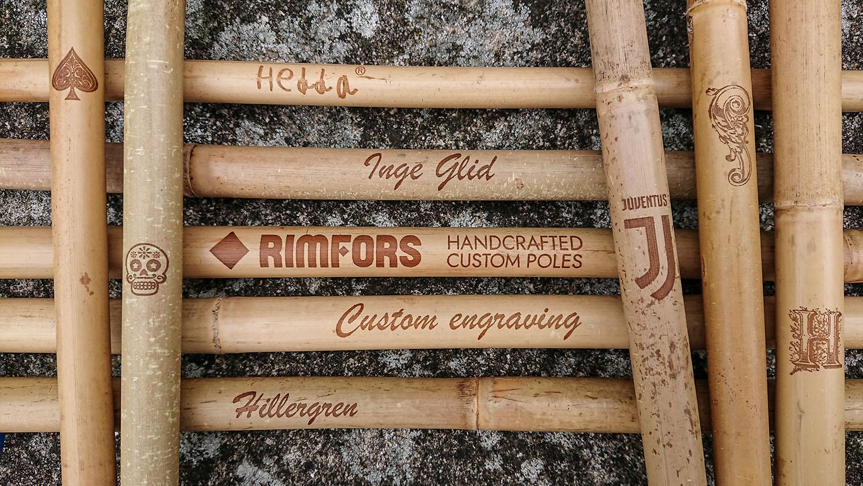 Rimfors bamboo ski poles with custom engraving.