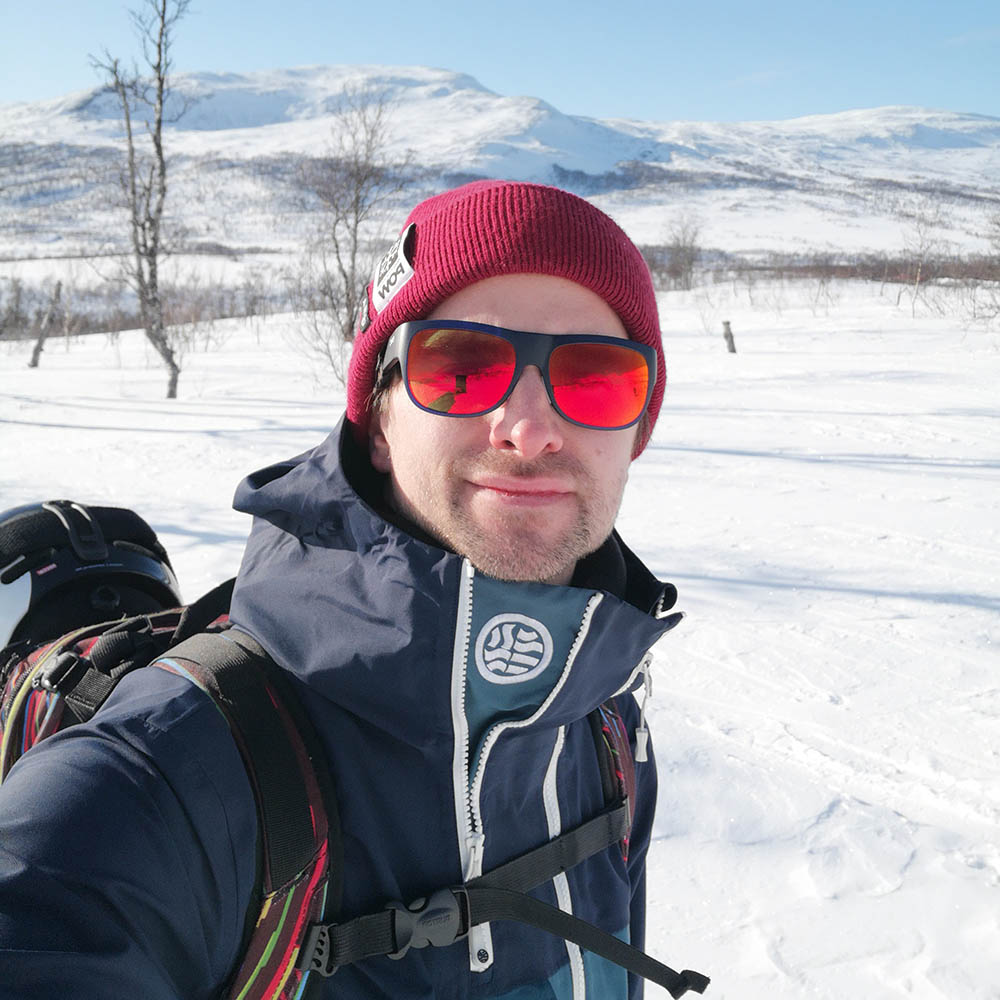 Joel Lundberg, chairman of Protect Our Winters Sweden, on his way up the Getryggen mountain in February last year.