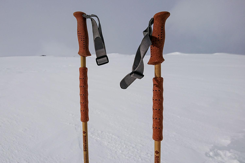 Ett par alpina topptursstavar med handtag och mellangrepp av kork och gummiliknande elastomer.