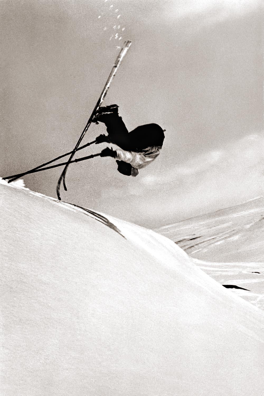 Olle Rimfors framåtvolt med lös häl i Storlien 1931. Foto: Olle Olsson