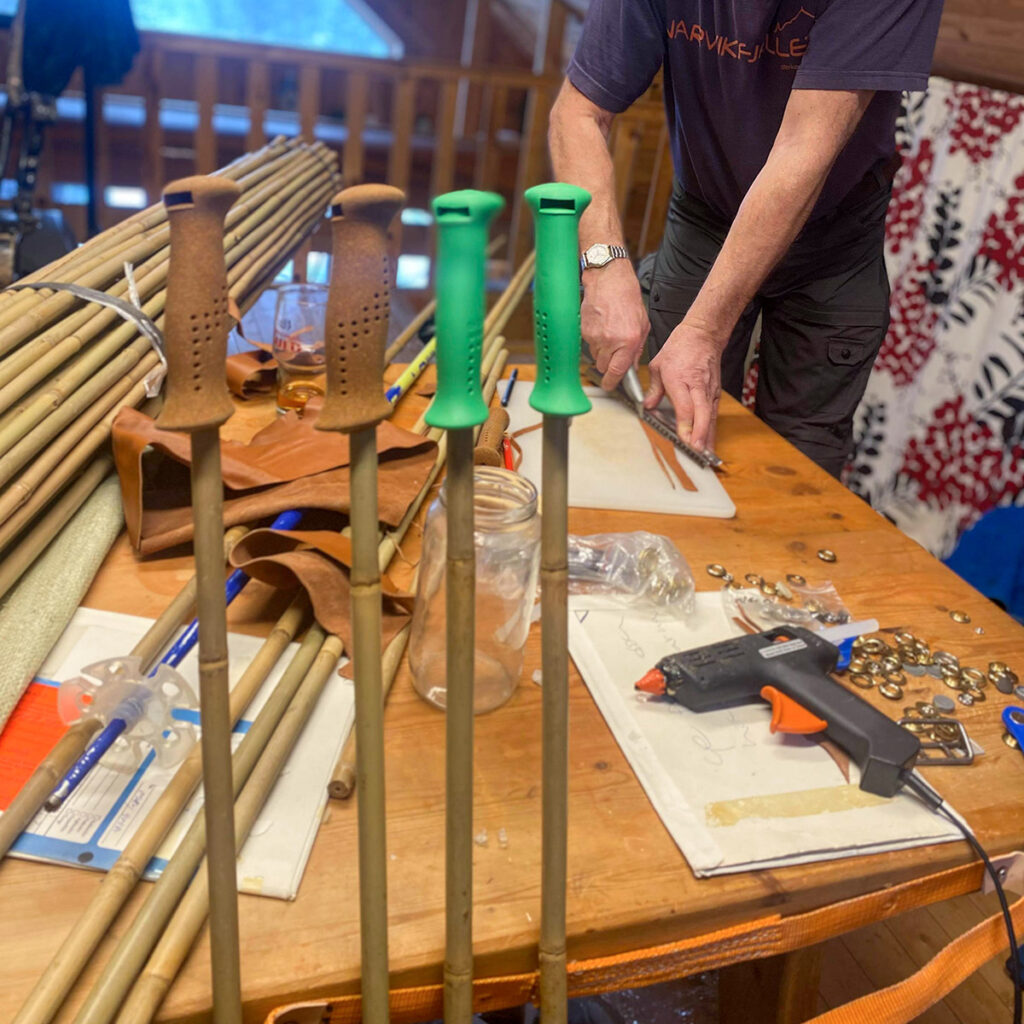 Pancho Snöfall cuts out the pole straps from leather for the very first pairs of the Borga bamboo ski poles.