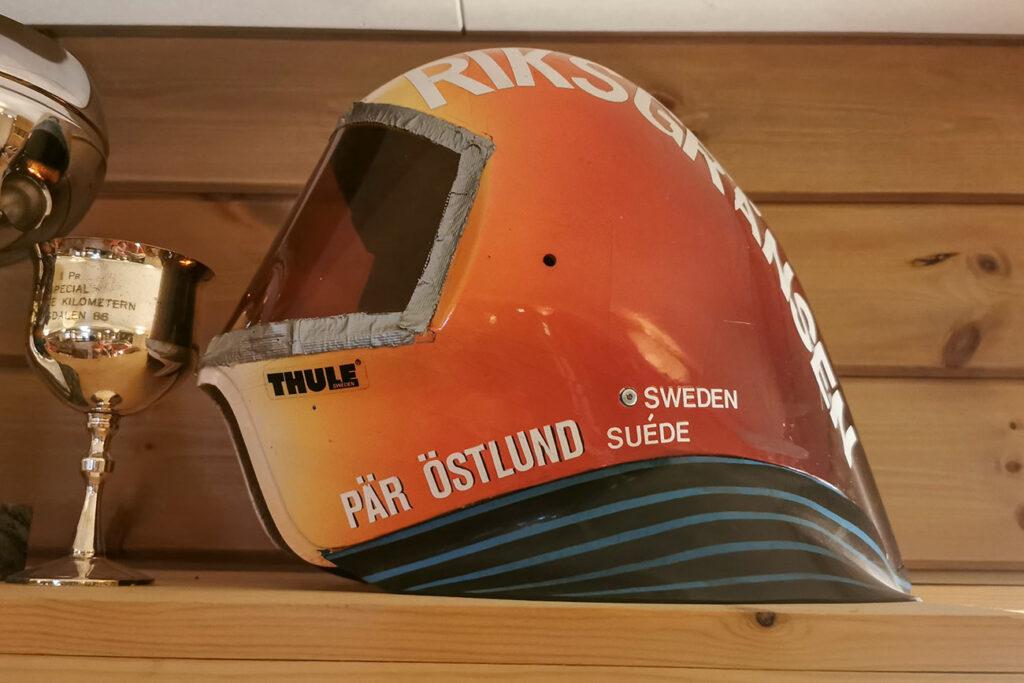 Pancho's speedski helmet, from when his name was Pär Östlund.
