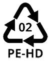 High-density polyethylene recycling symbol which means that the material is recyclable.