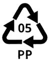 Recycling symbol for polypropylene which means that the material is recyclable.