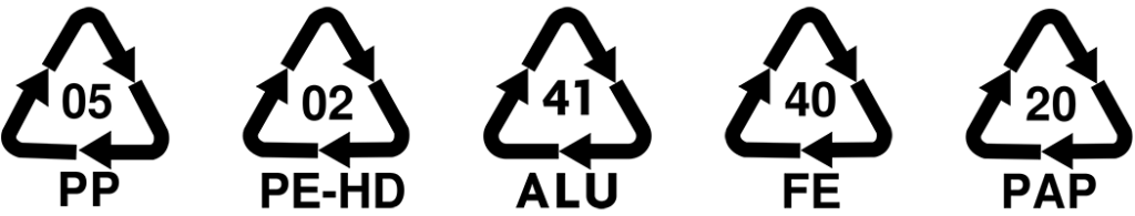 Återvinningstringlar för polypropylen, polyeten, aluminium, stål och wellpapp.