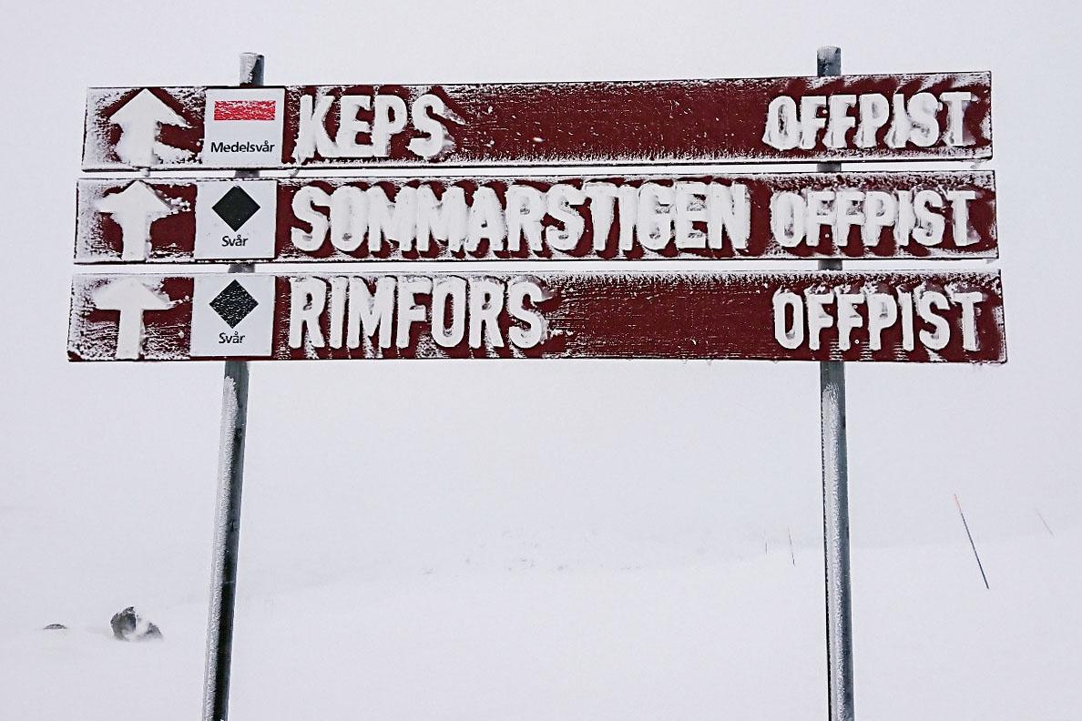 Den svarta offpist-nedfarten Rimfors i Riksgränsen.