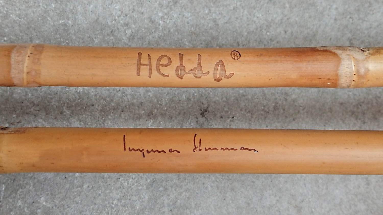 Bamboo ski poles with a laser engraved signature.