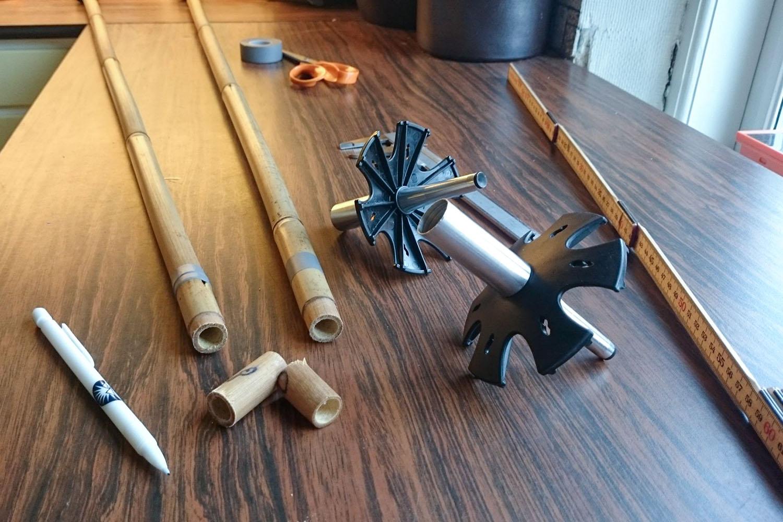 Mina första bambustavar - ett par Soul Poles originals som behövde kortas en aning när jag fick dem.